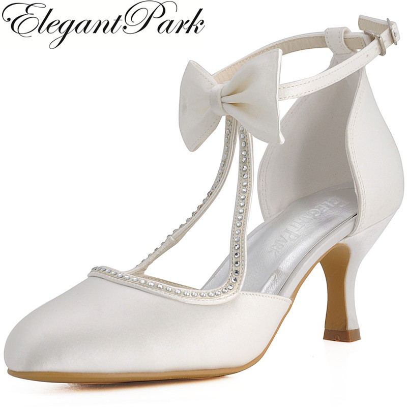 Women Shoes Wedding Bridal Mid Heels White T-Strap Closed Toe Bows Satin Bride Lady Bridesmaid Evening Party Pumps Red EP31018 new arrival white wedding shoes pearl lace bridal bridesmaid shoes high heels shoes dance shoes women pumps free shipping party