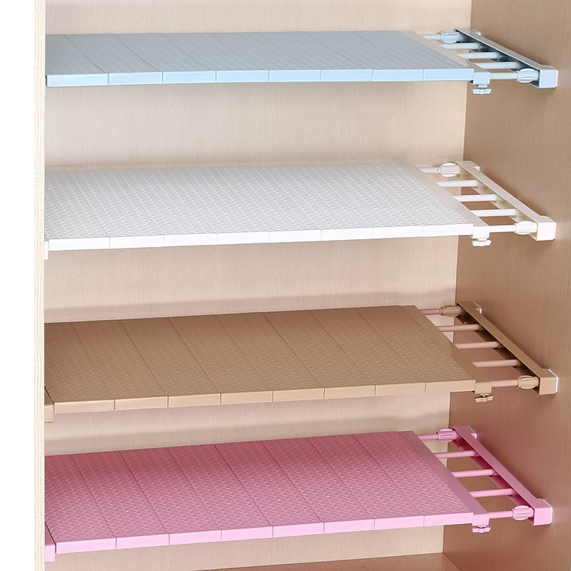 Adjustable Closet Organizer Nail-free stretching Wardrobe layered separated shelves Bathroom Kitchen Cabinet Storage Rack Holder