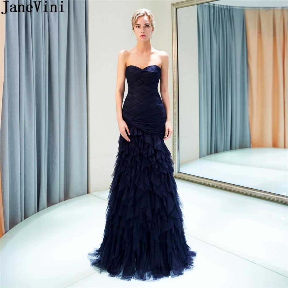 JaneVini Vintage bleu marine longues robes de demoiselle d'honneur sirène volants chérie Tulle robes de soirée formelles Robe Pour Mariage 2018