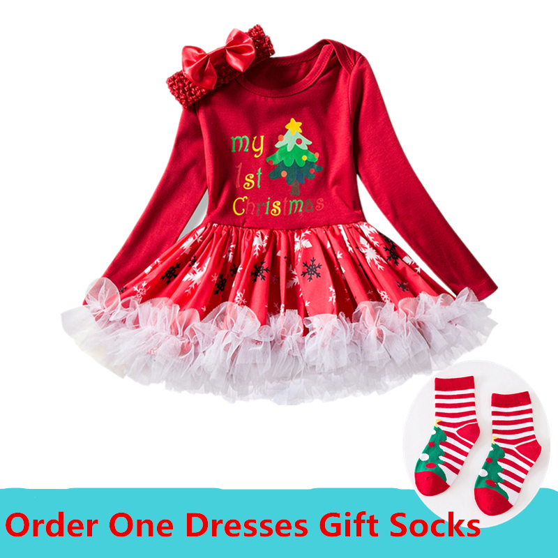 2018 Newborn Baby First Christmas Dresses For Girls Red Santa Cotton Tutu Dress Infant Girl Clothes Christmas Costume Gift Socks newborn boys girls christmas santa claus infant new year clothes 4pcs santa christmas tops pants hat socks outfit set costume