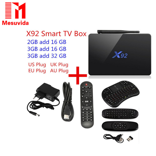 X92 TV Box Amlogic S912 Android 6.0 Octa-core 2.4GHz/5.8GHz WiFi HD 2.0a with USB 2.0 SD Card Slot Smart TV Box 2G 3G 16G 32GB