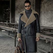 Long Style Men aggressive Noble Sheepskin Winter Outerwear Shearling