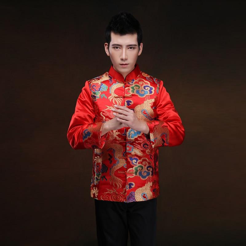 الرجال العريس نخب الملابس الصينية تانغ دعوى الزفاف التقليدية الذهب الديباج ثوب زائد الحجم الحرير شيونغسام أعلى الأحمر تشى باو