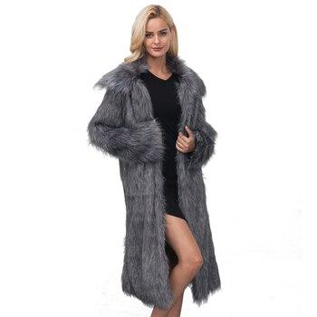 Casual Winter Coat Women Fashion Long Sleeve Jacket Coat Warm Loose Thick Lengthen Faux Fur Coat Outerwear Plus Size