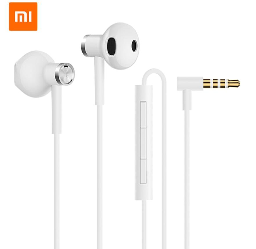 Original Xiaomi Mi Dual Driver Earphone Half-In-Ear Dynamic piezoCeramic Hybrid DC MEM Mic Tenacity Wire Control L-Shape Plug цена