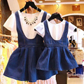 2016 NEW Summer set mother daughter set Fashion Novelty denim sets mother and daughter clothes matching family look