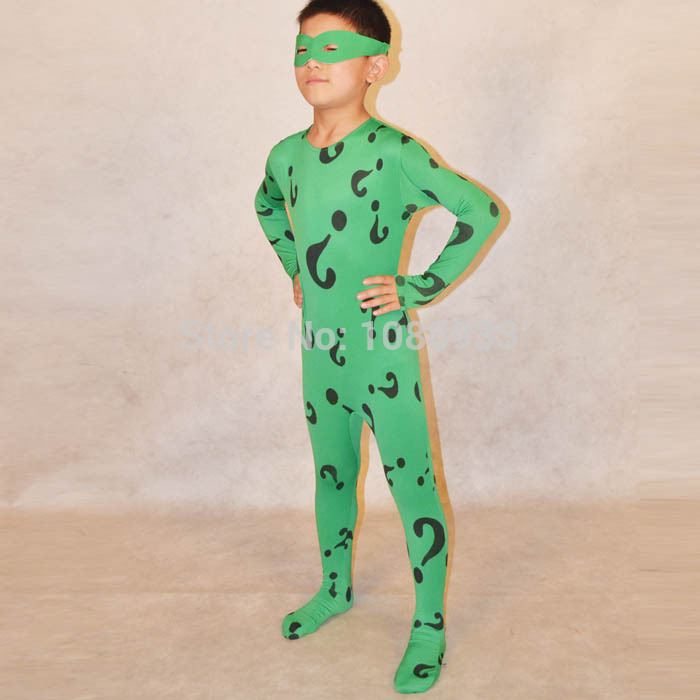 boys Riddler costume kids superhero Batman cosplay Halloween costumes for kids Children green bodysuit zentai custom wholesale-in Kids Costumes ... & boys Riddler costume kids superhero Batman cosplay Halloween ...