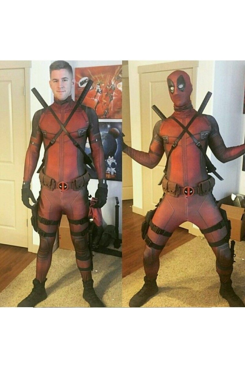 Marvel Comics Deadpool Cosplay Costume Attire Jumpsuit Dress Outfit Uniform Suit Full Sets Halloween Carnival Costume