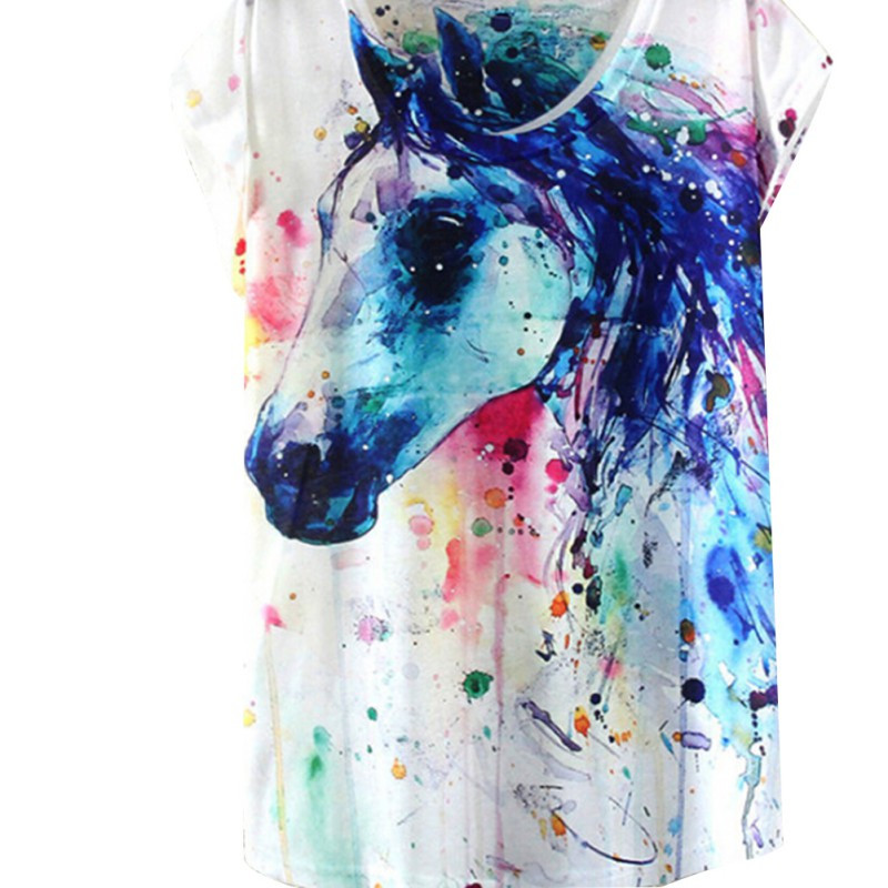 Patrón del Caballo de Impresión de Tinta Pintura de Estilo de verano Camiseta de
