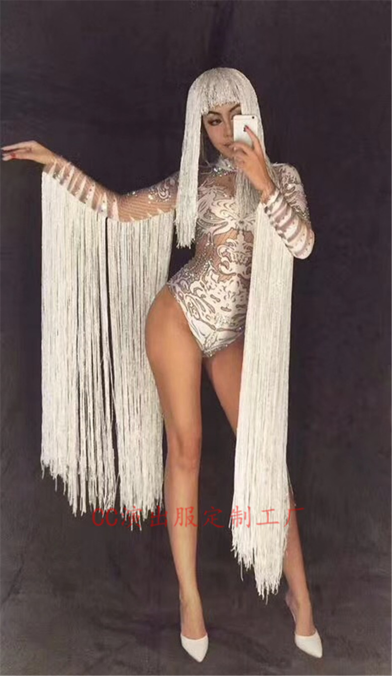 2018 Women New Nightclub Modern Girls Car Model DjDS White Fringed Sleeve Onesies Dance Costume Costume Party Celebration