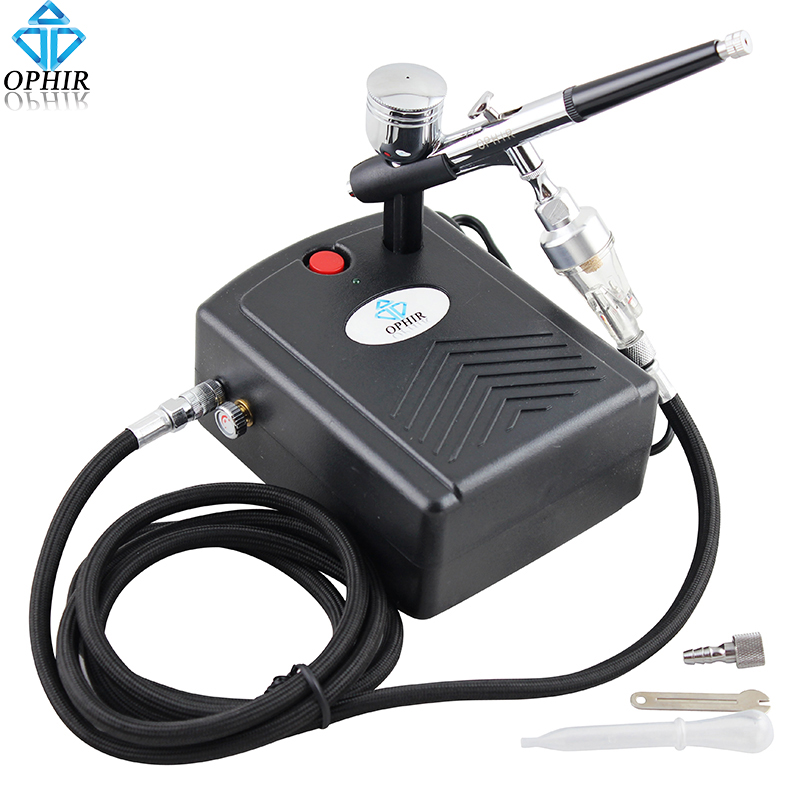 OPHIR 0.3mm Dual-Action Airbrush Kit with Mini Air Compressor for Makeup Model Hobby Cake Decorating Nail Art _AC034+AC004+AC011 ophir 3 tips dual action airbrush gravity paint air brush with 110v 220v air tank compressor for nail art body paint ac090 070