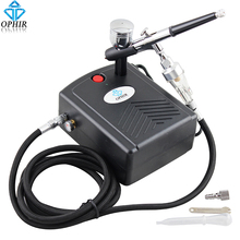 OPHIR 0.3mm Dual-Action Airbrush Kit with Mini Air Compressor for Makeup Model Hobby Cake Decorating Nail Art _AC034+AC004+AC011