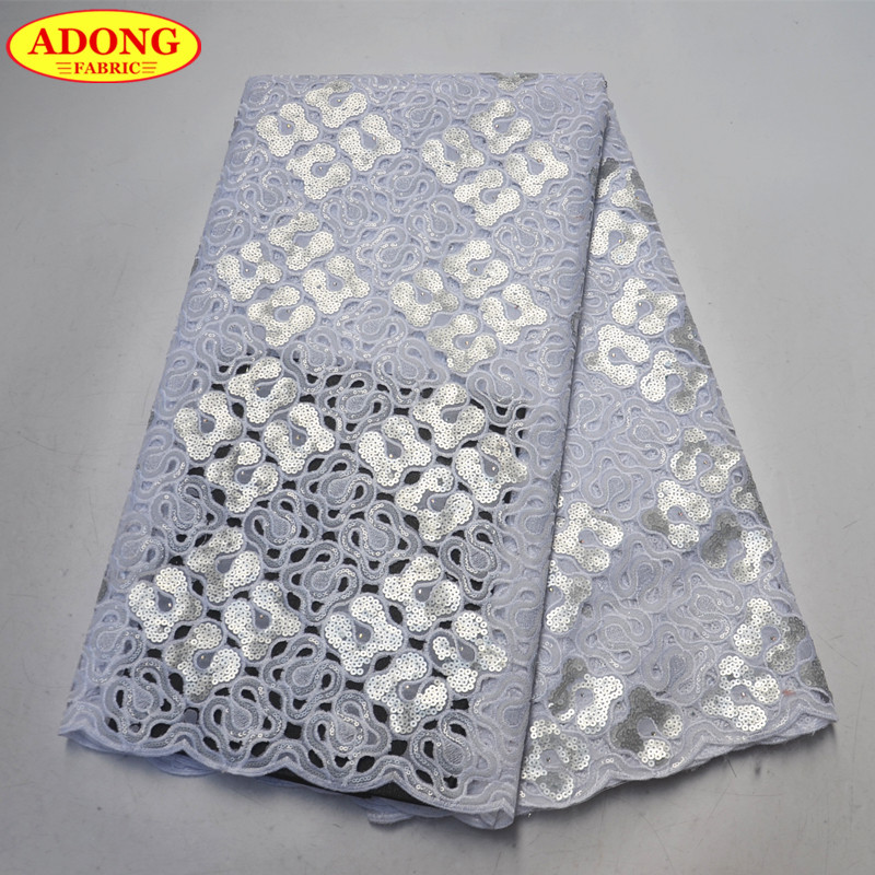 White Hollow Out Lace 5 Yards African Organza Lace Fabric With High Quality African Sequins Lace Fabric For Beautiful Long DressWhite Hollow Out Lace 5 Yards African Organza Lace Fabric With High Quality African Sequins Lace Fabric For Beautiful Long Dress