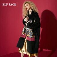 ELF SACK Зимние новые модные женские шерстяные куртки повседневные с широкой талией Turn Down Воротник пальто женские кошка принт стильные Femme курт