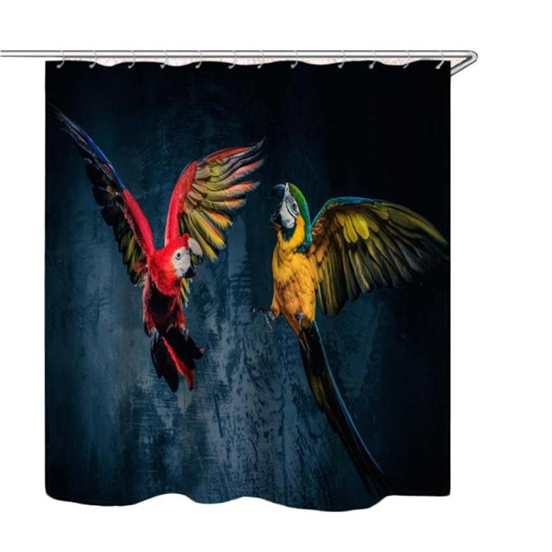 Vintage Bathroom Shower Curtain 3D Parrot Animals Printing Waterproof Polyester Bathing Curtains Bathtub Accessories #E