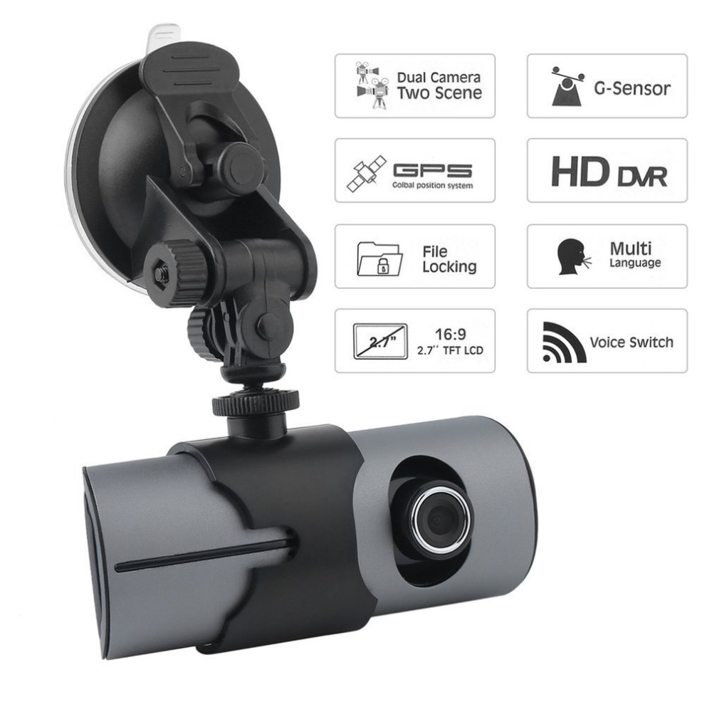 2.7 inch (16: 9) HD TFT LCD Vehicle Car DVR Video Recorder Dash Cam G-Sensor GPS Dual Len Camera Recorder 140 degree View Angle