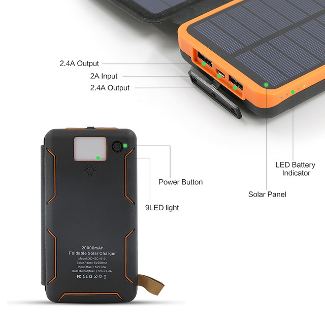Dual USB Waterproof Solar Charger with External Battery and LED Light