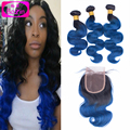4pcs Ombre Brazilian Hair With Closure #1B Blue Two Tone Human Hair Bundles With Lace Closures Ombre Hair weft With Closure