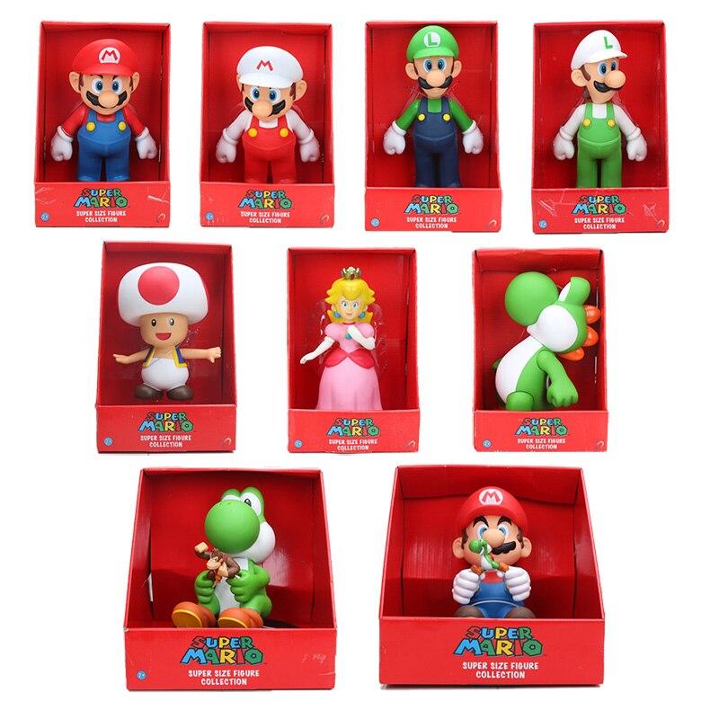23 cm figura de Super Mario bros Yoshi melocotón princesa sapo PVC figura de acción juguete Mario Luigi figura muñeca de juguete