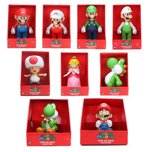 23cm Super Mario bros Figure Yoshi Peach Princess toad PVC Action Figure Toy Mario Luigi figure toy Doll