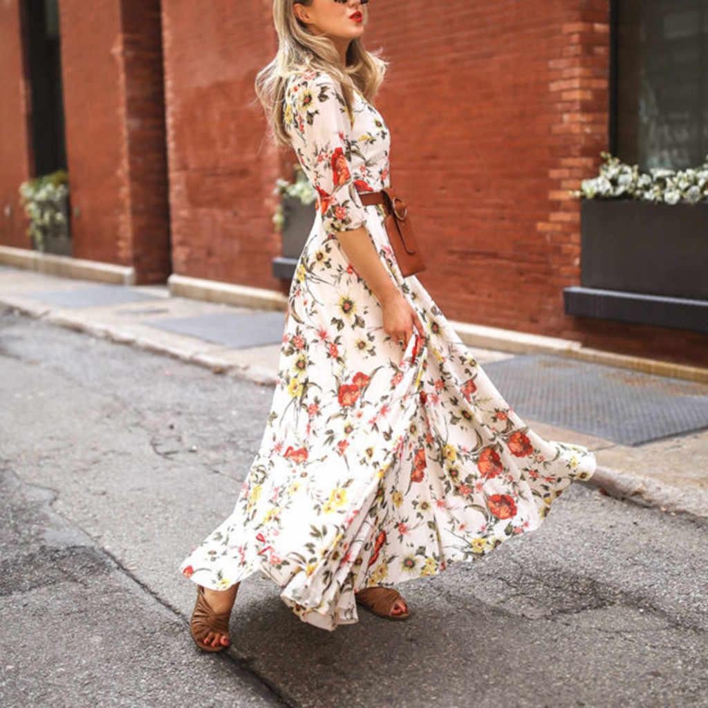20baf353a5 ... Fashion Summer Dress Women Casual Half Sleeve Boho Dresses Swing  Floral-Printed Holiday Floor- ...
