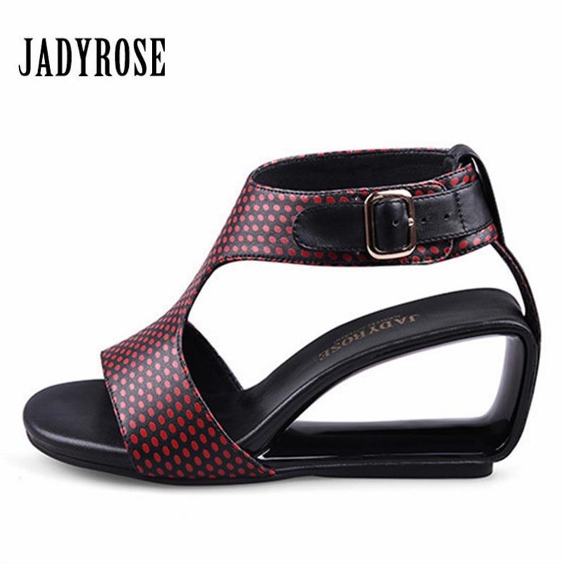 Здесь продается  Jady Rose Red Summer Fretwork Wedge Sandals High Heel Open Toe Party Beach Shoes Woman Pumps Buckle Gladiator Leather Slippers  Обувь