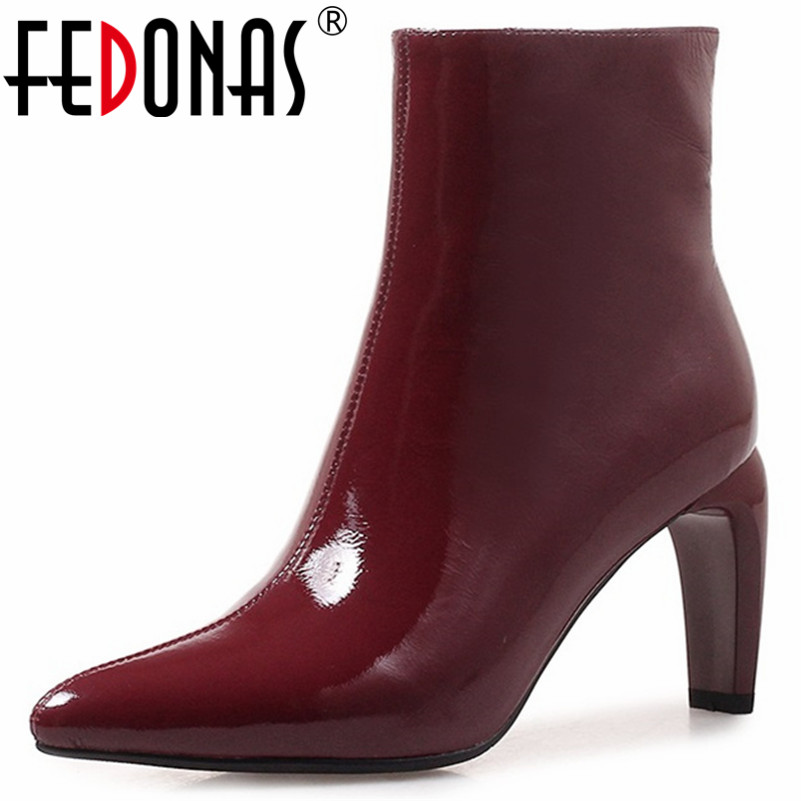 FEDONAS Quality Basic Boots High Heels Autumn Winter Ladies Shoes Woman Sexy Pointed Toe Party Wedding