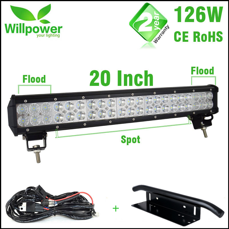 Hot Sale Combo Beam 20 inch 126w Offroad LED Light Bar Work Light 4x4 Car LED Light Bar 12v Wire Harness With Light Bar Bracket free dhl ups fedex ship 13 5 72w 2700lm 10 30v 6500k led working bar curved option wire of harness led bar light