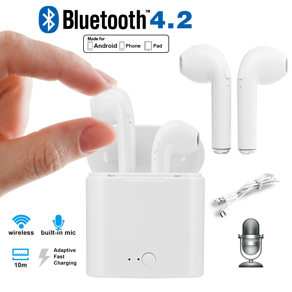 X-DRAGON Mini Wireless Bluetooth Earphone Stereo Earbuds Headset In Ear Dual Earphones with Charging Box for Phone Pad Loptop
