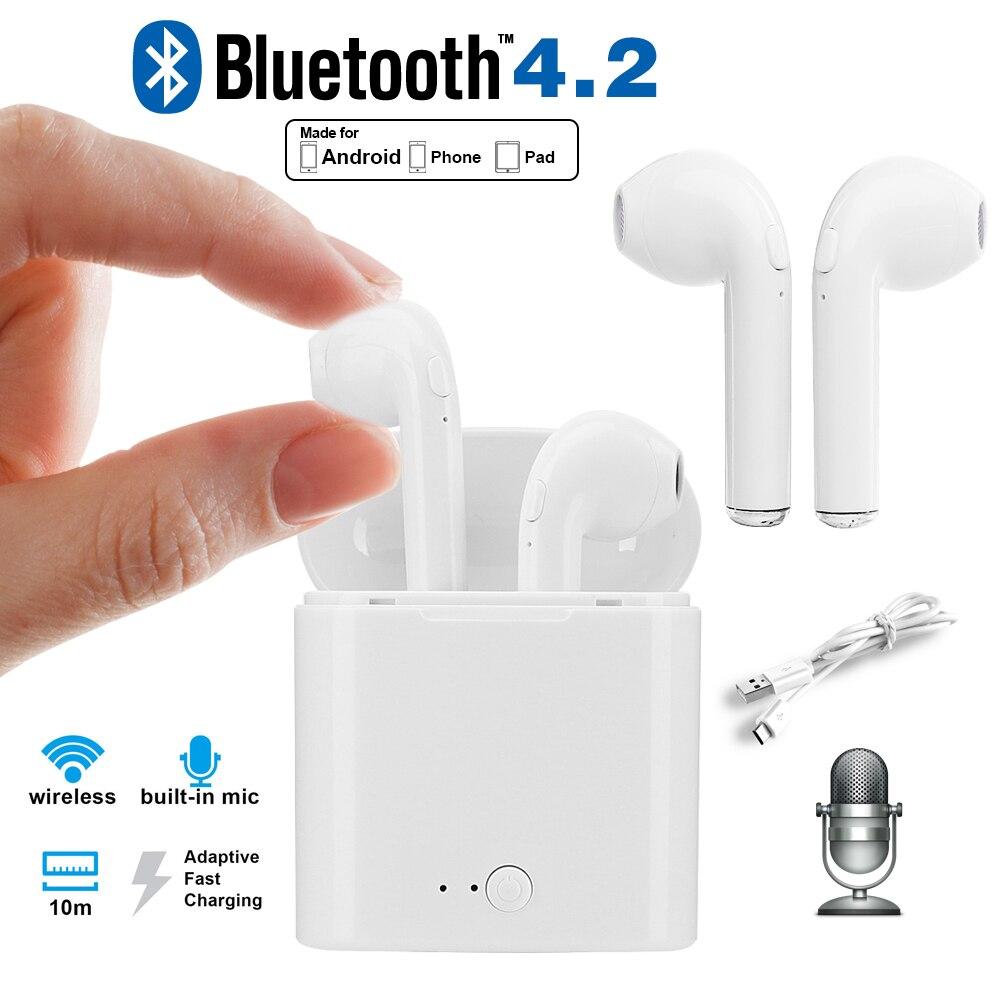 X-DRAGON Mini auricular Bluetooth inalámbrico estéreo auriculares auricular en oreja doble auriculares con caja de carga para los Airpods Pad computadora portátil