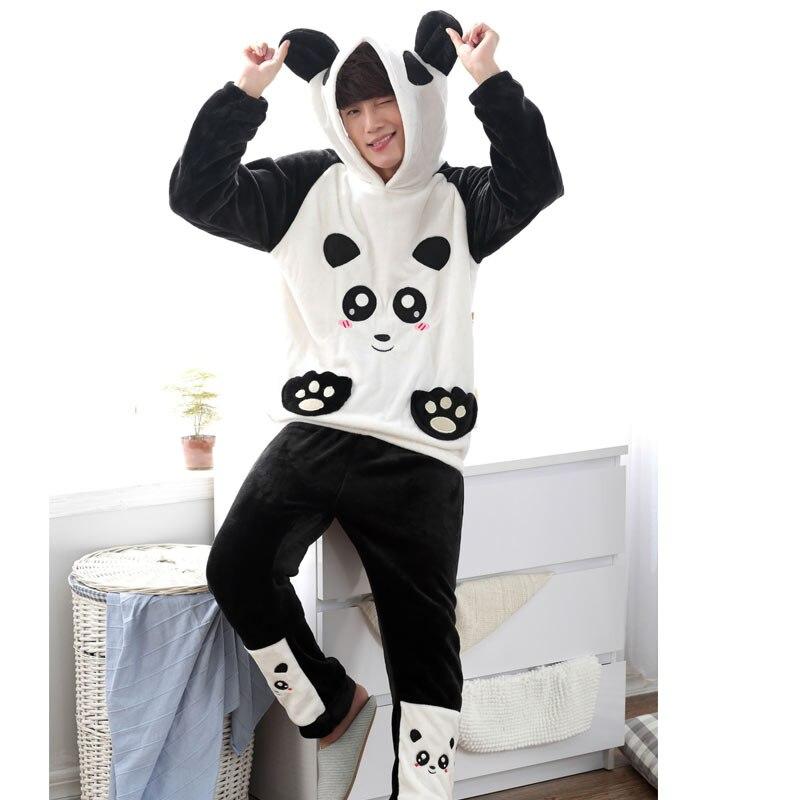 para y velvet y paternidad 2015 la el los de juego hombre hombre el panda negro coral pijamas de franela chándal mujer otoño niños en blanco invierno y 550Rna8x