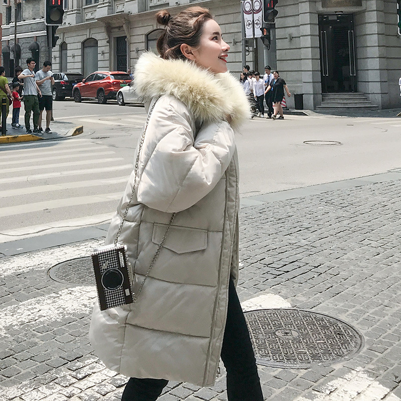 2018 new loose large fur collar thickening feather down jacket for women winter fashion fresh and elegant light cotton coat in Parkas from Women 39 s Clothing