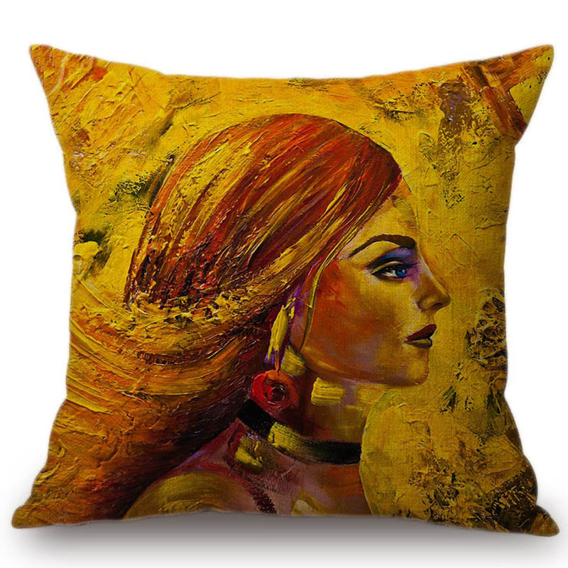 Table & Sofa Linens Home & Garden Gold Oil Painting Beauty Lady Girl Face Home Decorative Sofa Throw Pillow Case Modern Gallery Art Fashion Chair Cushion Cover