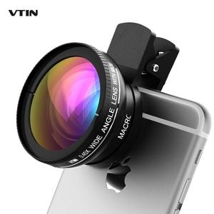 Image 1 - Nowy! VTIN uniwersalny profesjonalny zestaw obiektywów aparatu telefonicznego HD 0.45x super szeroki kąt obiektywu + 10x super makro obiektyw + 37mm gwint klip