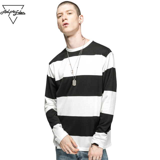 ee63e5b69c31c7 Aelfric Eden Oversize T Shirt Men Black White Striped Print Long Sleeve T- shirt Man