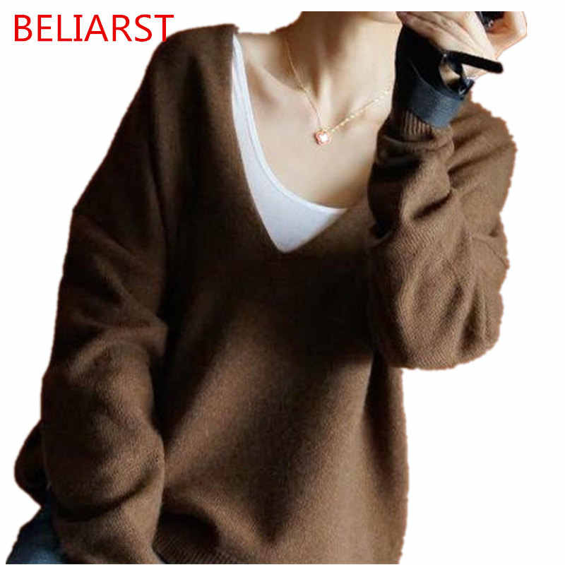 BELIARST 2017 Autumn and Winter New Cashmere Large V Neck Woman Cashmere Sweater Lazy Loose Pullover Solid Color Large Size
