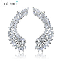 Teemi Korea Style New Shining Crystal Big Angel Wings Pendant Earrings 925 Sterling Silver Pin Brincos