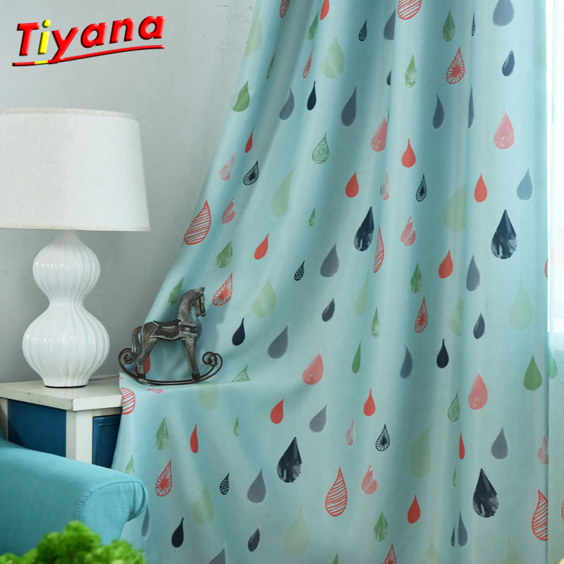 1 pc 2018 New Curtains for Windows Drapes Cartoon Modern Raindrop Printing kids Shade Curtain For Living Room Bedroom WP118 *30