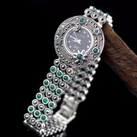 Hot Sale Women Classic Thai Silver Bracelet Watch S925 Silver Bracelet Watch Silver Jade Bracelet Watches Real Silver Bangle
