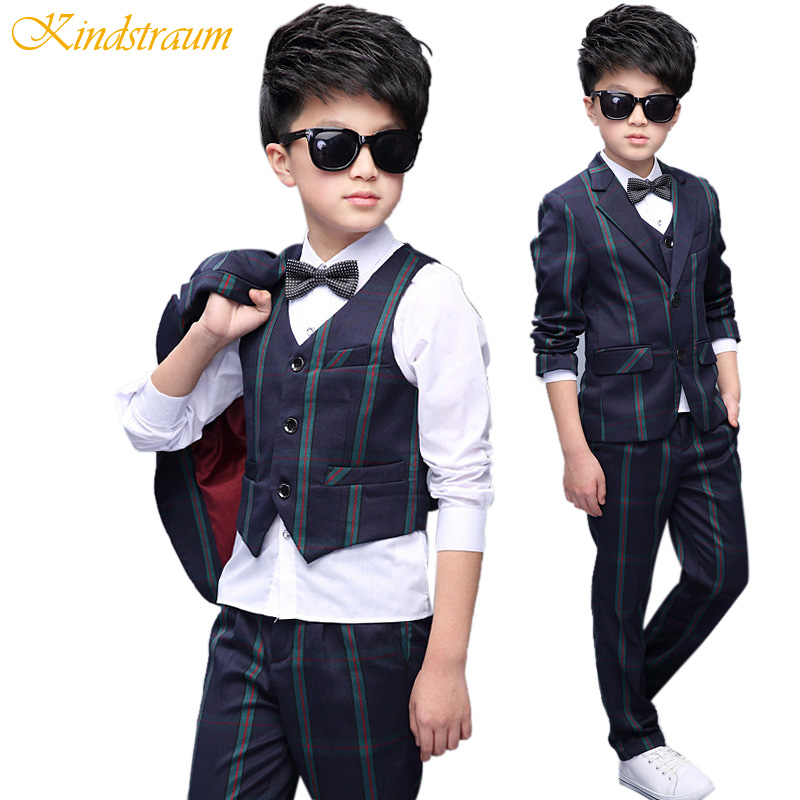 Kindstraum 5pcs Boys Formal Suits for Wedding England Style Striped Blazer+Vest+Shirt+Pant+Tie Children Kids Clothing Sets,MC732 boys clothes set boys striped vest pant shirt suits formal outfits kids school uniform children clothing wedding party clothes