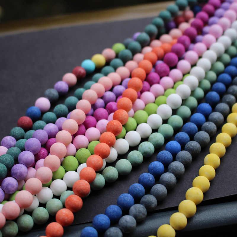 """48 יח'\חבילה 8 מ""""מ מאט הרי אבן חרוזים רב צבע אופנה חרוזים להכנת תכשיטים סיטונאי וקמעוני"""