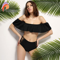 Andzhelika Sexy Bandeau Bikinis Off Shoulder Biquini Ruffle Bikini Retro Ruffle Swimwear Strappy High Waist Monokini