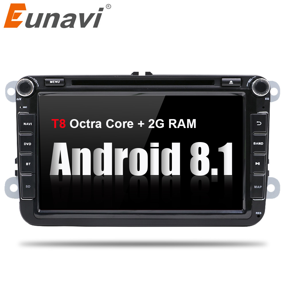 Eunavi 8'' 2 Din Android 8.1 car dvd player for VW GOLF 6 Polo Bora JETTA B6 PASSAT Tiguan 4G WIFI 2Din Radio Stereo GPS Navi eunavi 2 din 9 android 8 0 4g ram car radio stereo gps navi for vw passat b6 cc polo golf 5 6 touran jetta tiguan magotan seat
