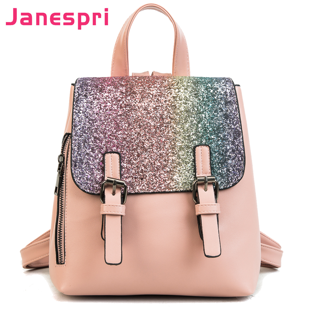 Janespri New PU Leather Women Back pack 2018 Fashion Backpack Sequins Small Backpacks For Girls Gold Bag Female Bagpack On Sales