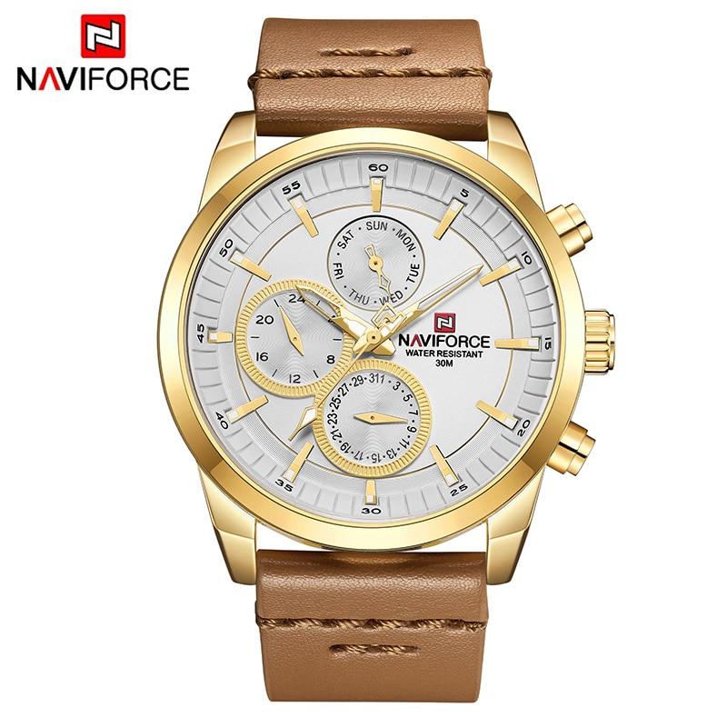 Mens Watches NAVIFORCE Top Brand Luxury Waterproof 24 hour Date Quartz Watch Man Fashion Leather Sport Wrist Watch Men Clock
