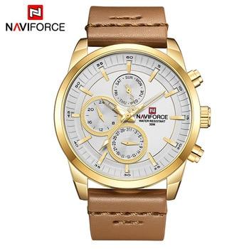 Mens Watches NAVIFORCE Top Brand Luxury Waterproof 24 hour Date Quartz Watch Man Fashion Leather Sport Wrist Watch Men Clock 8