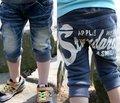 3-8yrs Crianças Carta calças de impressão quente de verão do bebê das meninas Dos Meninos calções Cowboy denim jeans crianças calças Frete grátis