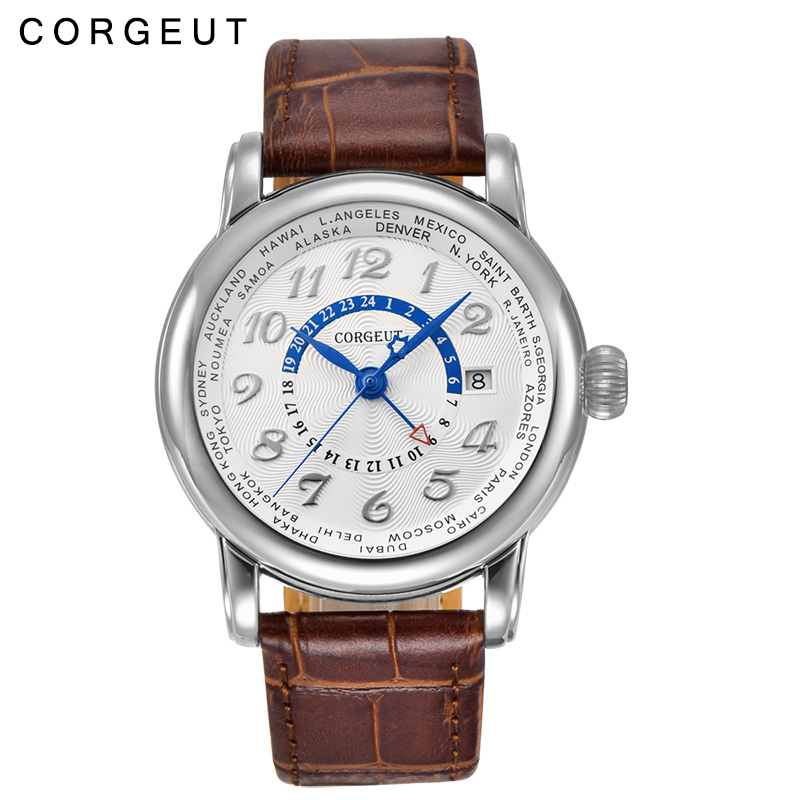 где купить Corgeut 43mm white dial blue hand Date coffee leather strap date GMT Automatic Men Watches дешево