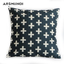 Simple Linen Square Letter Cushion Cover Printed Jacquard Woven Home Use Pillow Cover waist Black Throw Pillow Case For Sofa цена в Москве и Питере
