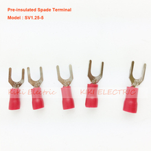 цена на SV1.25-5 Insulated Spade Terminal  Fork Type Pre Insulated Electrical Wiring Terminals Connector for 22AWG-16AWG 19A max.